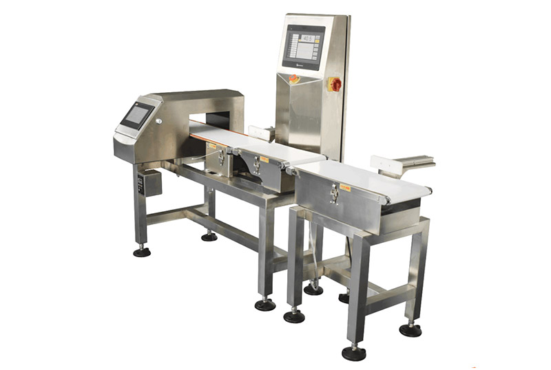combination inline metal detector and checkweigher